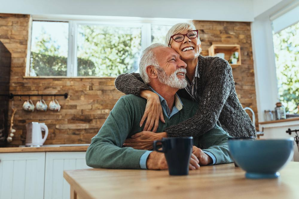 Elderly couple in their kitchen after dentist appointment in Missoula MT
